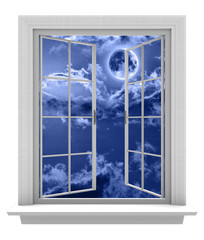 Isolated window frame opening to a night sky and full moon
