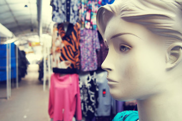 Female mannequin in the clothing market