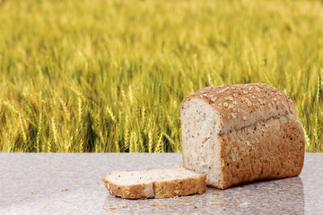 whole wheat bread with barley field