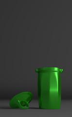 Green glossy rubbish bin