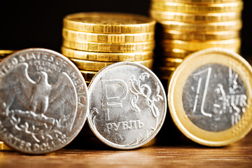 The Russian rouble coin between Dollar and Euro