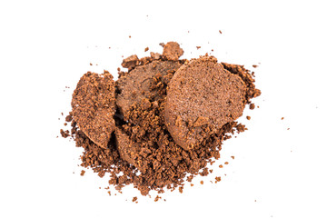 A pile of spent or used coffee grounds