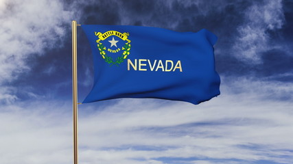 nevada flag with title waving in the wind. Looping sun rises