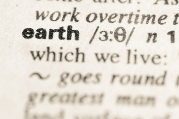 Dictionary definition of word earth