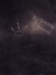 Close up of a black dirty board with the words my sweetest princ
