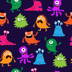 Seamless bright pattern of monsters