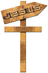 Jesus - Wooden Directional Sign with Cross
