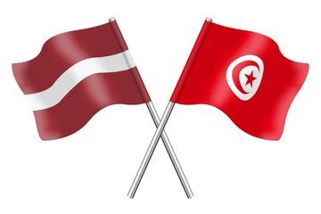 Flags: Latvia and Tunisia