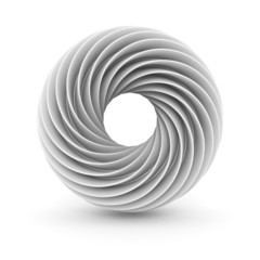 White Abstract Twisted Design Object