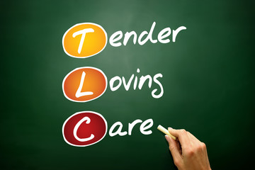 Tender Loving Care (TLC), business acronym on blackboard