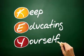 Keep Educating Yourself (KEY), acronym on blackboard