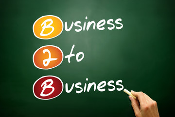 Business To Business (B2B), acronym on blackboard