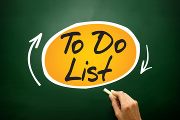 TO DO LIST mind map, business concept on blackboard