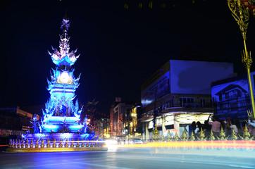 Chiang Rai clock-tower  lights entertaining performance
