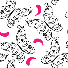Decorative seamless pattern with butterflies and rose petals