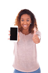 African American Woman showing a mobile phone and making thumbs