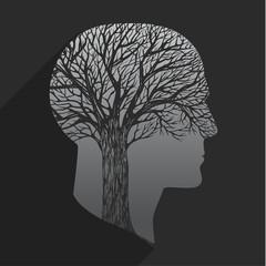 Tree in the shape of head
