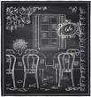 Outdoor old cafe chalk sketch. - 80237844