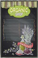 Chalkboard organic shop.