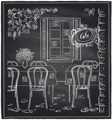 Outdoor old cafe chalk sketch.