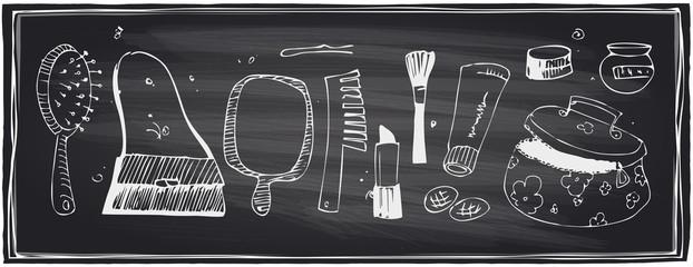 Chalkboard set of beauty symbols.