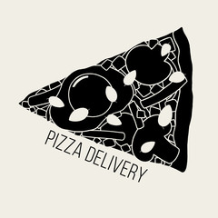 Black and white cartoon pizza illustration. Hand drawn vector