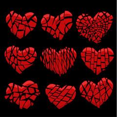 broken red heart on black