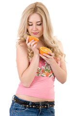 girl with an orange in her hand