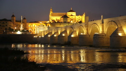 Night view of Cordoba with Roman bridge and  Mosque-cathedral