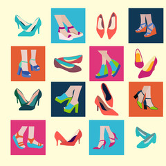 Sping and Summer Shoes Icon Set - Illustration