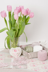 Handmade Heart And Napkins. Threads. Bouquet Of Tulips