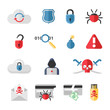 Hacker flat icons set with bug virus crack worm spam