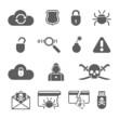Hacker black icons set with bug virus crack worm spam - 80239606