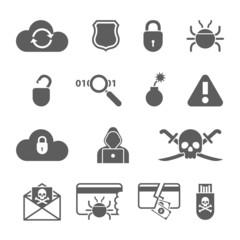 Hacker black icons set with bug virus crack worm spam