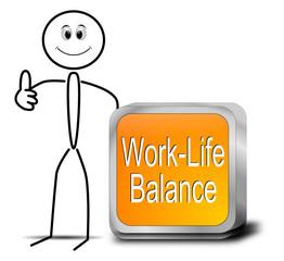 Strichmännchen mit Work Life Balance Button