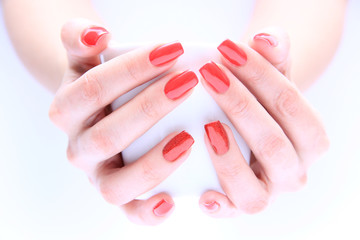 Hand with nail red