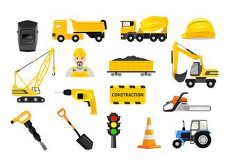 Vector construction flat icons set