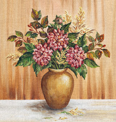Painting Flowers Dahlias in a Vase