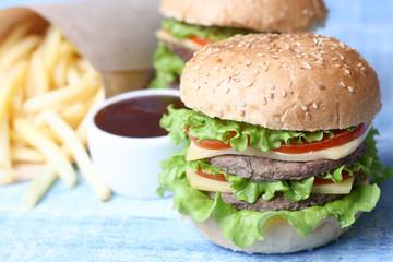 Hamburger Burger Cheeseburger, fried potato and ketchup