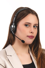 Cute business customer service woman smiling - Stock Image