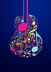 Abstract Guitar and Notes Vector Design