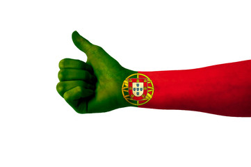 Main avec pouce levé, drapeau Portugal