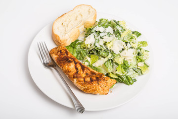 Baked Salmon with Bread and Caesar Salad