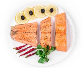Fried salmon fillet.