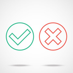 Flat line check marks icons