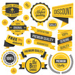Yellow badges,ribbons and labels set