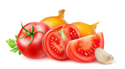 Tomatoes and onions isolated on white