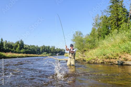 Aluminium Vissen Fliegenfischer in Aktion