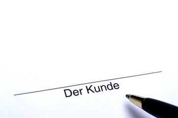 Unterschrift der Kunde