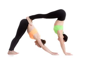 Acroyoga, downward-facing dog yoga pose